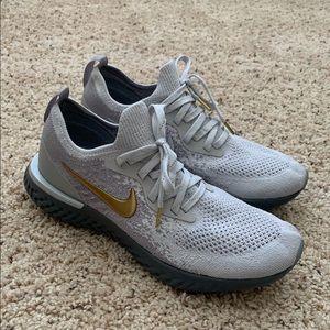 Nike Epic React Flyknit 'Vast Grey Gold' Sz9